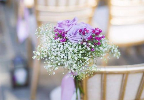 Gold Chiavari Chairs with Lilac Flower