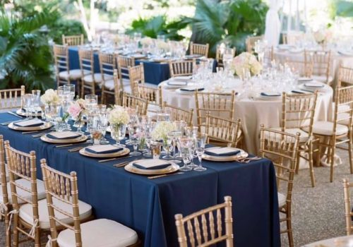 Gold Chiavari Chairs with Navy Blue Linen