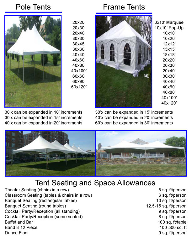 Tent Seating and Space Allowances
