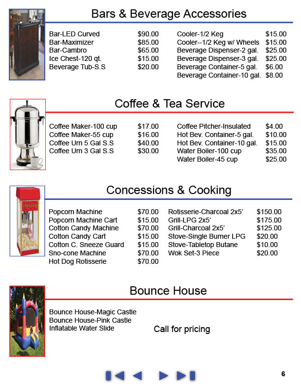 Price List | Thomas Tent and Event | Serving Maryland, DC, Baltimore